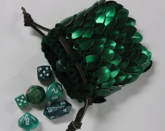 Scalemail Dice Bag Dragonhide Knitted Armor  Elven Ranger small size