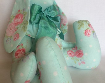 Handmade bunny rabbit made from Shabby Chic aqua blue fabric print with rose nose gays