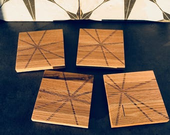 "Laser Engraved Wood Coasters ""Stars""--Set of 4"