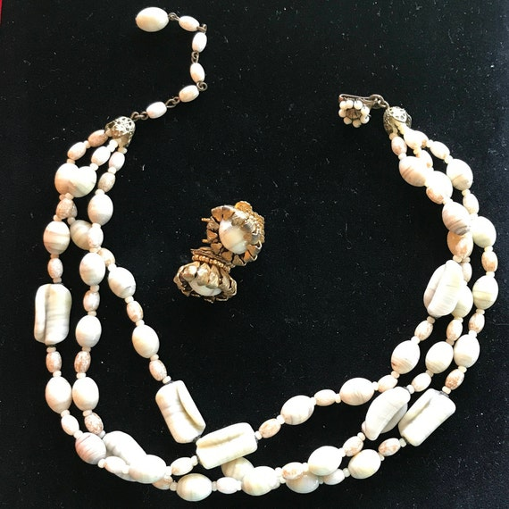 Miriam Haskell Art Glass Necklace and Earrings, 1960's