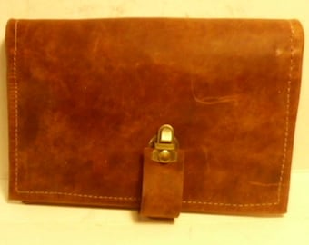 leather top stub checkbook cover/ leather top stub check book cover