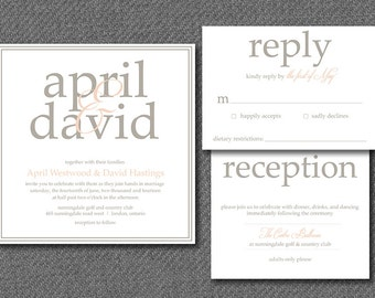 DIY printable formal wedding invitations and matching rsvp response card