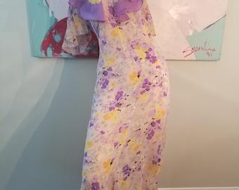 FREE  SHIPPING  1930  Silk  Chiffon  Dress