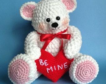 VALENTINE TEDDY BEAR Pdf Crochet pattern (English only)