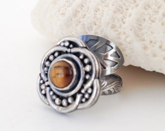 Tigers Eye Ring, Sterling Silver Flower Ring, Brown Artisan Silversmith Adjustable By Pass Ring Size 7 - 8 1/2, Boho Chic Wrap Jewelry