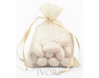 10 Ivory Organza Bags, 8 x12 Inch Sheer Fabric Favor Bags