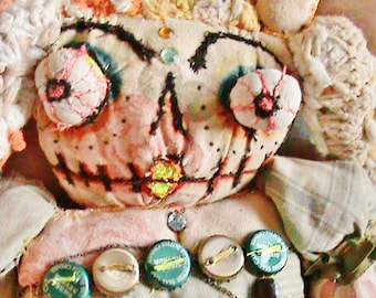Upcycled Recycled Halloween Cloth Embroidered Art Doll Summer  Darkmoon