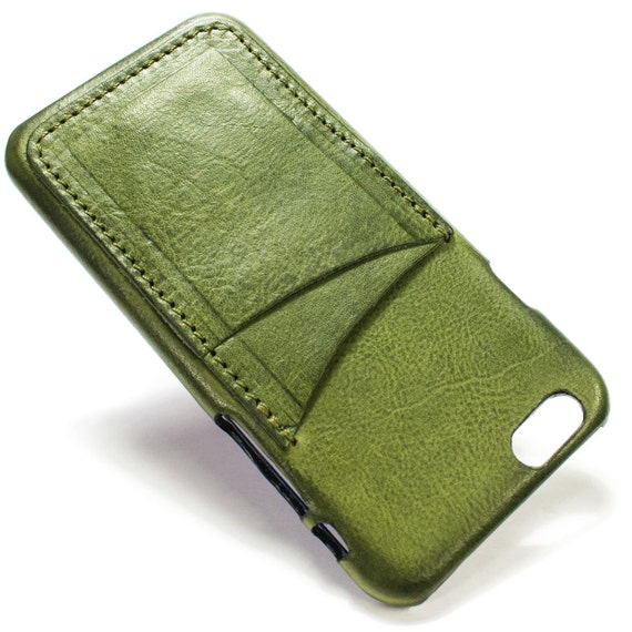 """iPhone 6S display 4.7"""" Italian Leather Case with 2 credit cards holder vertical SLOTs choose the color of BODY and ACCENT"""