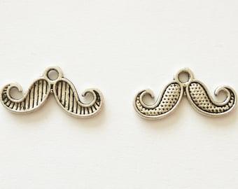 5 Double Sided Moustache Charms. Tibetan Silver. Pendant.