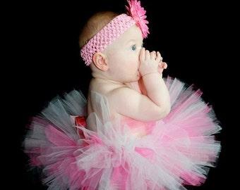 PINK and WHITE newborn baby tutu set....Great for newborn photos, 1st Birthday tutu or Baby Shower gift