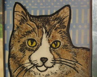 Stained Glass Cat  Suncatcher Gray  and brown shorthair  JRNcat001