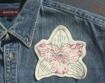 Orchid Hand Embroidered Patch