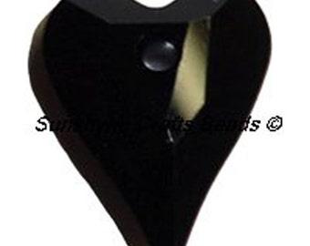 Swarovski Crystal Beads 6240 JET BLACK Wild Heart Bead Pendant - Size 12MM & 17MM Available