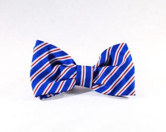 Preppy Red White and Blue Patriotic Stripes Dog Bow Tie