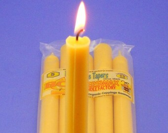 """Beeswax Tapers, 5 Pack of 1860's Antique Beeswax Tapers, Gift for Her, 0.75"""" x 10"""" Organic Tapers, Antique Candles, Victorian Candles"""