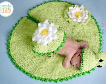 CROCHET PATTERN Baby Frog on Lily Pad Hat and Rug Set PDF Pattern with Instant Download