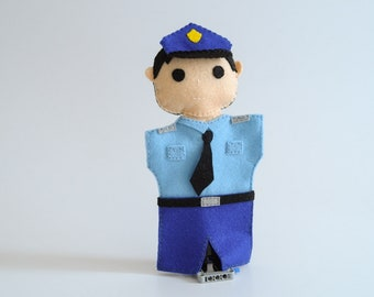 Policeman puppet - police officer, police hand puppets, police toy -