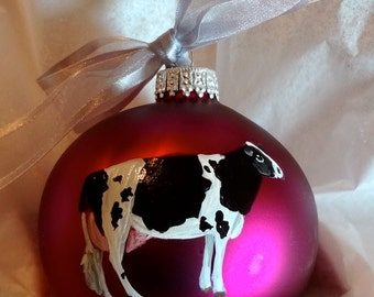 Charolais Cow / White Cow Hand Painted Christmas Ornament - Can Be Personalized with Name