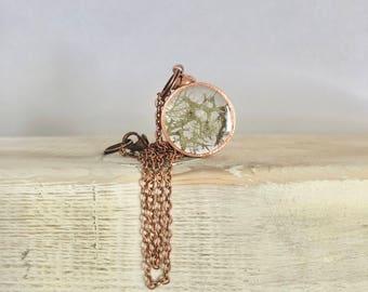 Lichen - Real Nature Pendant, Handmade Copper Necklace