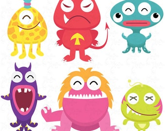Cute Litter Monsters Clip art Set Lcm005 Personal and Commercial Use, cards, invitations, scrapbooking and all paper crafts.
