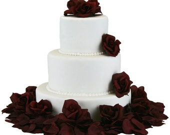 Burgundy Silk Rose Cake Flowers - Wedding Reception Decoration