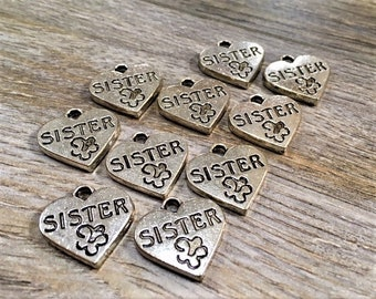 Sister Heart Charm, Antique Silver Heart Charm, 12 pieces, Sister Charm, Bracelet Charm, Key Chain Charm, Bead Source, Heart, Sister, Love