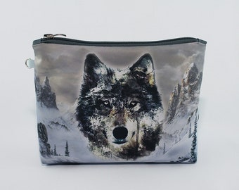 Wolf Cosmetic Bag Makeup bag Zipper pouch Accessory bag Travel bag Pencil Case Toiletry bag Cosmetic Case