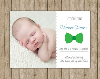 Custom birth announcement- digital file 5x7 with bowtie