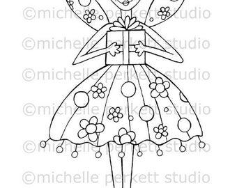 digital stamp stamping scrapbooking downloadable printable cute fairies birthday girl
