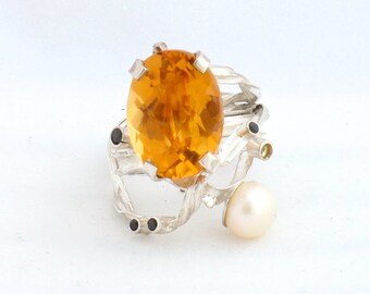 Silver Ring with Citrine, Natural Pearl and Black Swarovski Crystals