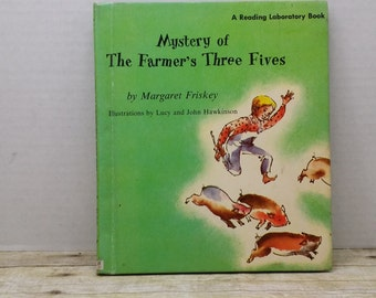 Mystery of the Farmers Three Fives, 1963, Margaret Friskey, Hawkinson, vintage kids book