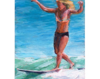 Surfer Girl Painting, Surfer Art, Surf Art, Surfer Painting
