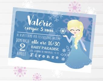 Regina incantesimo congelato party Invito compleanno personalizzato bimba stampabile Festa bambina Biglietto d'invito Principessa ghiaccio