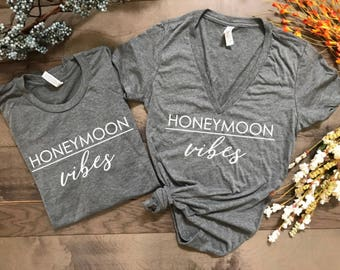 Honey Moon Vibes, Honey moon shirts, just married shirts, bridal shower gift, couples shirts, husband and wife gift, wedding gift,