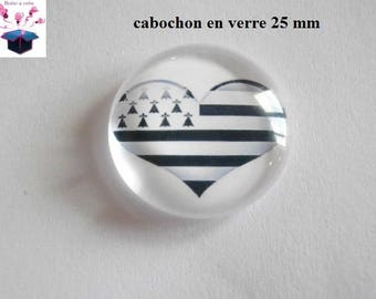 1 cabochon clear 25 mm round draoeau Breton theme