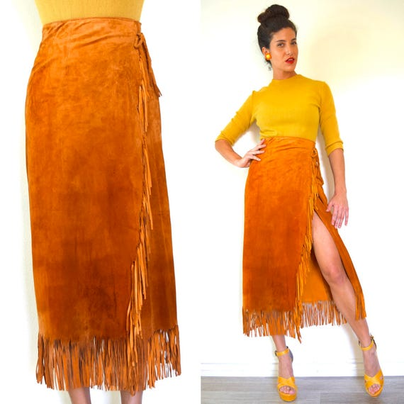 Vintage 70s 80s Burnt Orange High Waisted High Waisted Suede Fringe Pencil Skirt (xs, small)