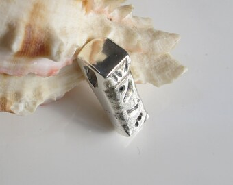 Sterling Tiki Pendant, Unisex Silver Jewelry