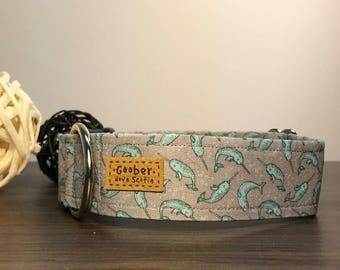 Narwhal Dog Collar, whale, sea, ocean