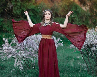 Ancient Greek dress, medieval fantasy dress,  Ancient Roman dress, long sleeved dress, fantasy costume