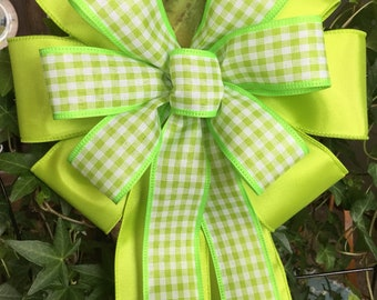 "Green  & Gingham Ribbon layered together  9"" wide 15"" long bow for  wedding pew wreaths decor small tree topper"