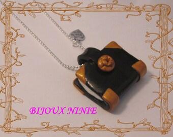 Necklace black book grimoir fimo