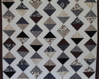 Beautiful and Unique Diamond Pattern Neutral Tone Throw Quilt