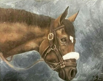 Original oil painting- racehorse in paddock
