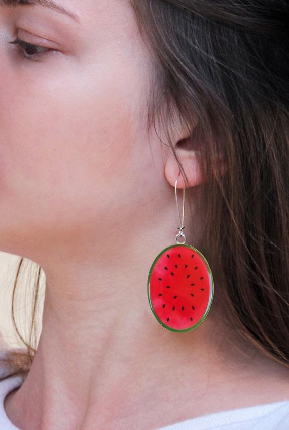 Watermelon earrings, statement earrings, fruit resin earrings, summer jewelry, fruit jewelry, lightweight earrings, pop art long earrings
