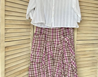 Purple and green plaid extra large lagenlook pant