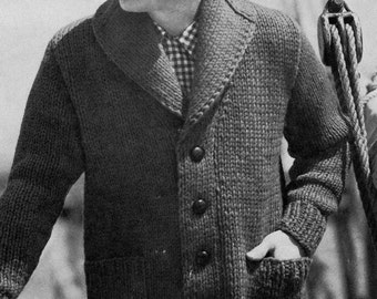PATTERN 1950s Mens Cardigan Button Down Bulky Sweater Shawl Collar to Knit PDF Pattern Vintage Sweater Pattern to knit.