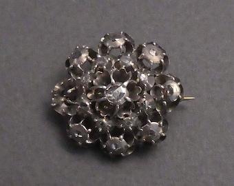 Georgian Brooch 17 Rose Cut Diamonds Silver Top Gold Back
