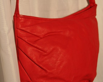 Tomato Red Leather Pleated Purse