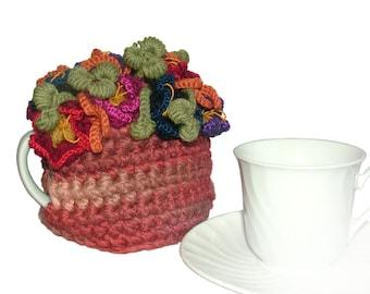 Crochet Tea Cosy, Small 1 Cup Tea Pot Tea Cosy Floral Tea Cosy Tiny Tea Cosy, OOAK floral tea cosy, OOAK tea cozy