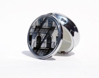 """PILL BOX -  Pill Case, Pill Organizer, Photo Pill Box, East Village Pill Box- 2.25"""" diameter"""